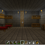 First level with beds, chests, furnaces, and other tools.